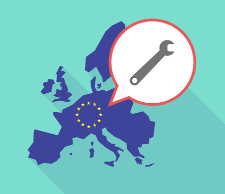 its: Illustration of a long shadow European Union map, its flag and a balloon with a spanner