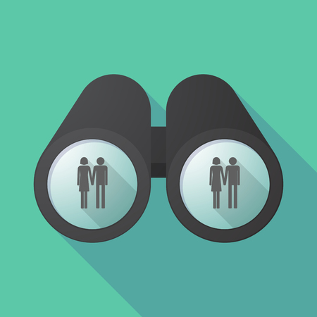 heterosexual couple: Illustration of a long shadow  binoculars with a heterosexual couple pictogram