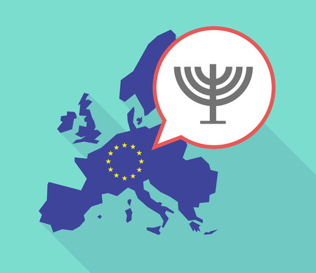jewish community: Illustration of a long shadow European Union map, its flag and a balloon with a chandelier Illustration