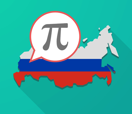 constant: Illustration of a long shadow Russia map, its flag and a balloon with the number pi symbol