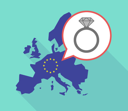 Illustration of a long shadow European Union map, its flag and a balloon with an engagement ring
