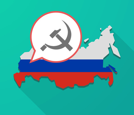 socialist: Illustration of a long shadow Russia map, its flag and a balloon with  the communist symbol