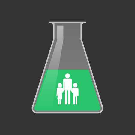 single parent family: Illustration of an isolated chemical test tube with a male single parent family pictogram Illustration