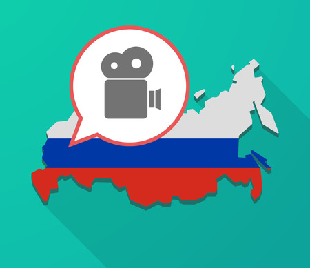 official record: Illustration of a long shadow Russia map, its flag and a balloon with a film camera Illustration