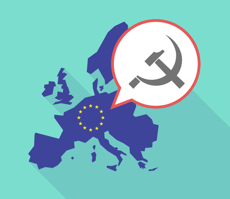 communist: Illustration of a long shadow European Union map, its flag and a balloon with  the communist symbol