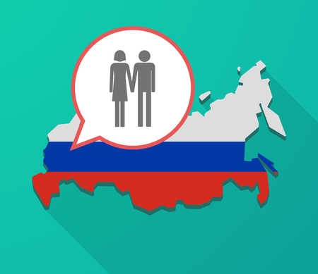 Illustration of a long shadow Russia map, its flag and a balloon with a heterosexual couple pictogram