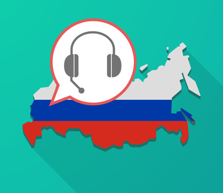 Illustration of a long shadow Russia map, its flag and a balloon with  a hands free phone device