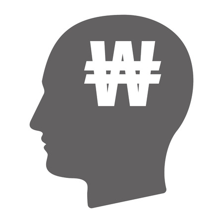 won: Illustration of an isolated  male head silhouette with a won currency sign Illustration