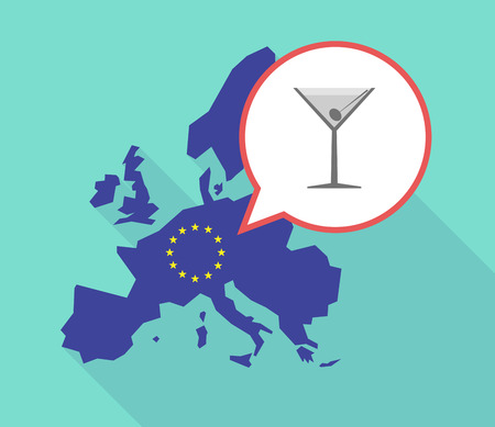 Illustration of a long shadow European Union map, its flag and a balloon with a cocktail glass