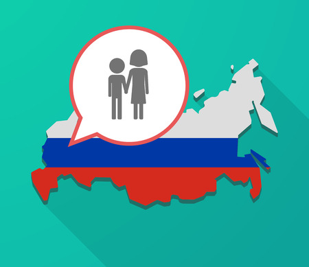 Illustration of a long shadow Russia map, its flag and a balloon with a childhood pictogram