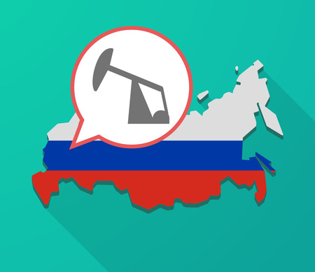 Illustration of a long shadow Russia map, its flag and a balloon with a horsehead pump