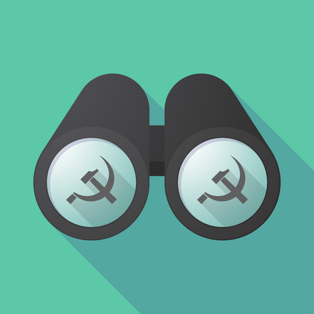 communist: Illustration of a long shadow  binoculars with  the communist symbol Illustration