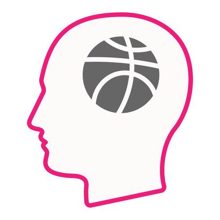 Illustration of an isolated line art male head with  a basketball ball