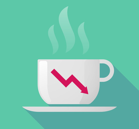 descending: Illustration of a long shadow coffee mug with a descending graph