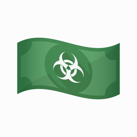 Illustration of an isolated waving bank note with a biohazard sign