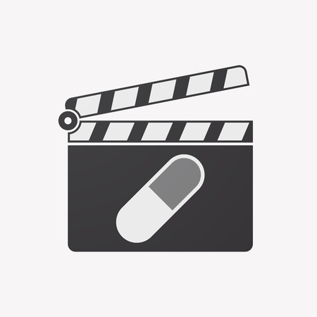 Illustration of an isolated clapper board with a pill