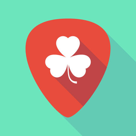 plectrum: Illustration of a long shadow guitar pick with a clover