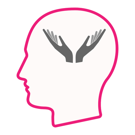 Illustration of an isolated line art male head with  two hands offering
