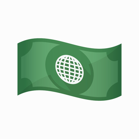banco mundial: Illustration of an isolated waving bank note with a world globe