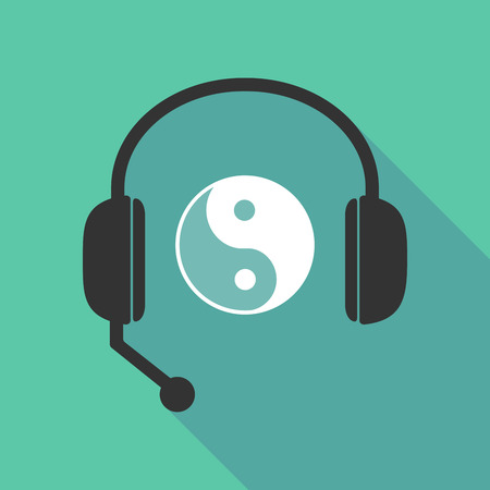 Illustration of a long shadow  teleoperator  hands free headphones with a ying yang