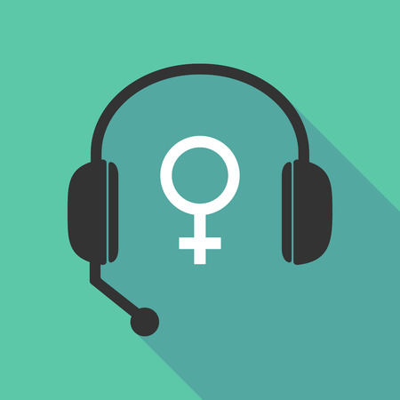 call centre girl: Illustration of a long shadow  teleoperator  hands free headphones with a female sign