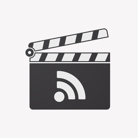 really simple syndication: Illustration of an isolated clapper board with an RSS sign