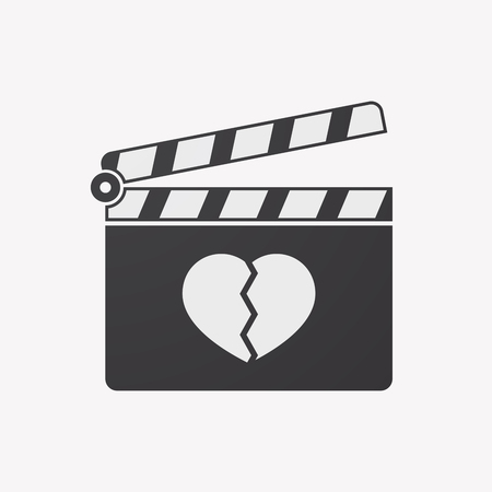 illustration of an isolated clapper board with a broken heart