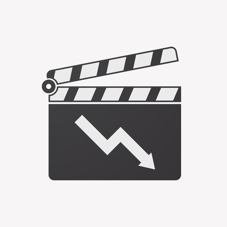 descending: Illustration of an isolated clapper board with a descending graph