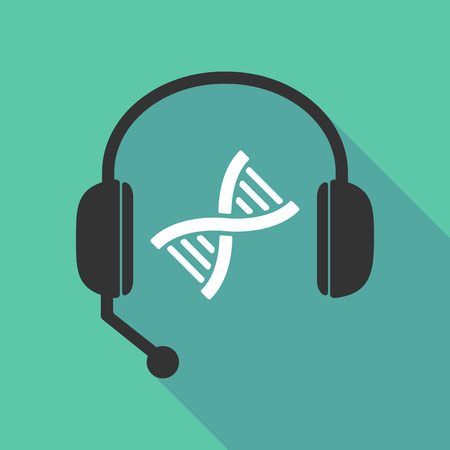 genetically: Illustration of a long shadow  teleoperator  hands free headphones with a DNA sign