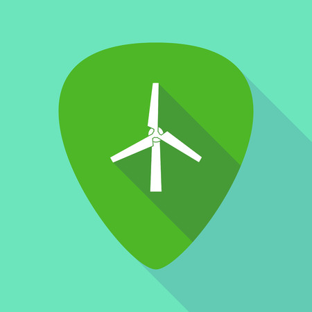 Illustration of a long shadow guitar pick with a wind turbine Illustration
