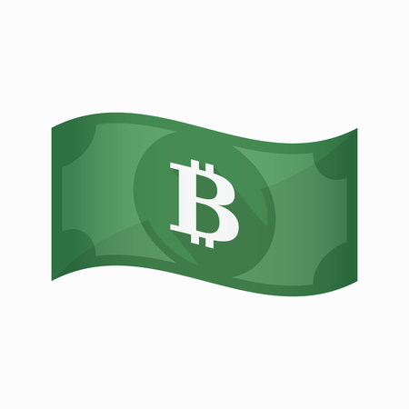 p2p: Illustration of an isolated waving bank note with a bit coin sign