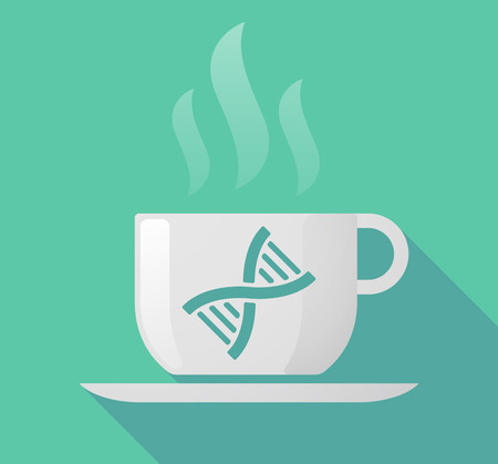 Illustration of a long shadow coffee mug with a DNA sign