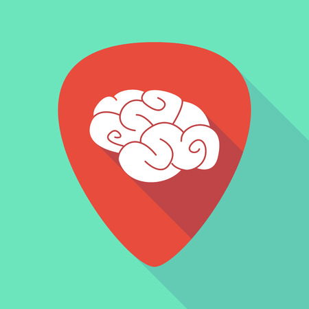 guitar pick: Illustration of a long shadow guitar pick with a brain Illustration