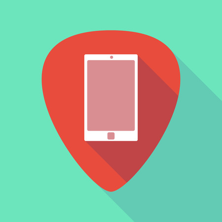 guitar pick: Illustration of a long shadow guitar pick with a smart phone Illustration