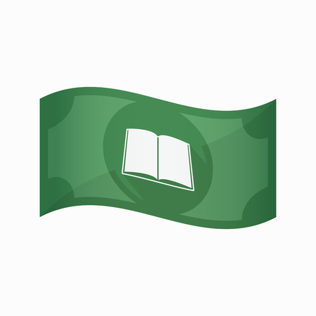 school bills: Illustration of an isolated waving bank note with a book