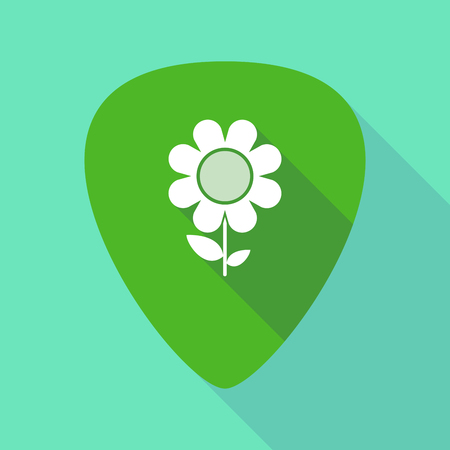 guitar pick: Illustration of a long shadow guitar pick with a flower Illustration