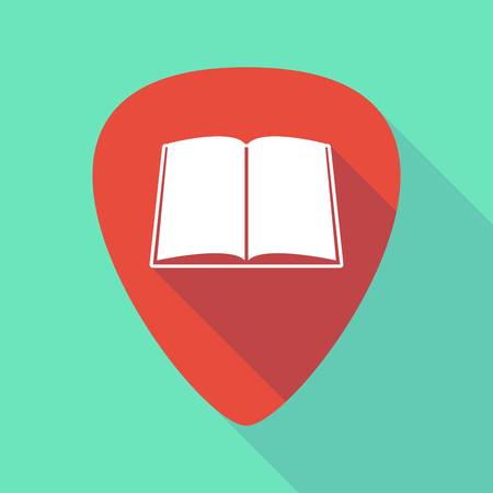 plectrum: Illustration of a long shadow guitar pick with a book
