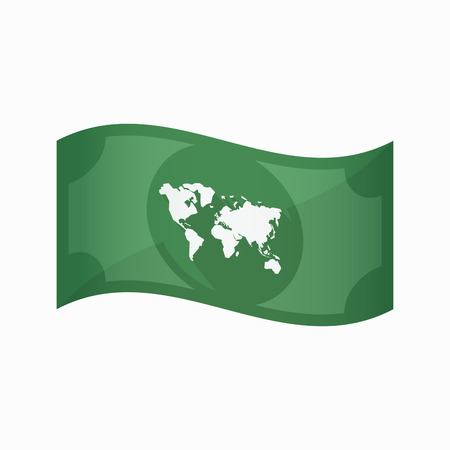 banco mundial: Illustration of an isolated waving bank note with a world map