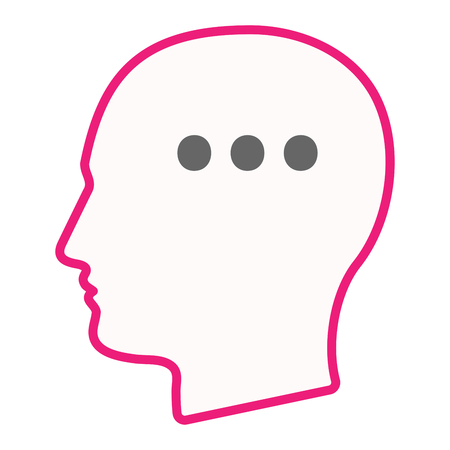Illustration of an isolated line art male head with  an ellipsis orthographic sign Illustration