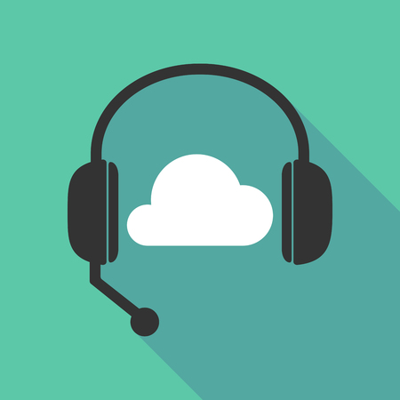 Illustration of a long shadow  teleoperator  hands free headphones with a cloud Illustration