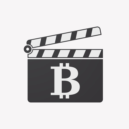 p2p: Illustration of an isolated clapper board with a bit coin sign
