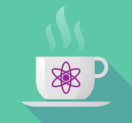 Illustration of a long shadow coffee mug with an atom