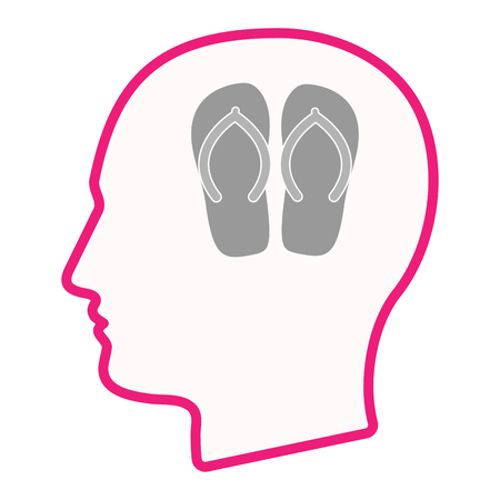 Illustration of an isolated line art male head with   a pair of flops
