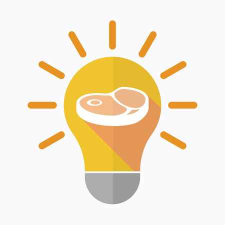 Illustration of an isolated light bulb with  a steak icon Ilustrace