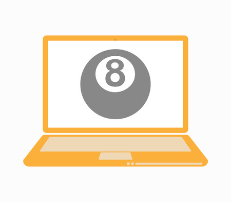 bola de billar: Illustration of an isolated laptop with  a pool ball
