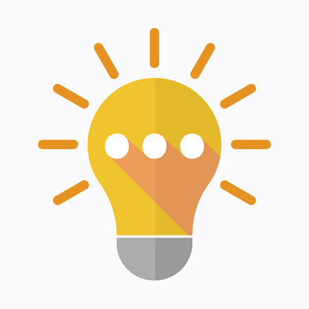 Illustration of an isolated light bulb with  an ellipsis orthographic sign Illustration