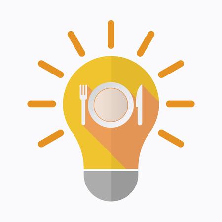 皿、ナイフとフォークのアイコンと孤立した電球のイラスト  イラスト・ベクター素材