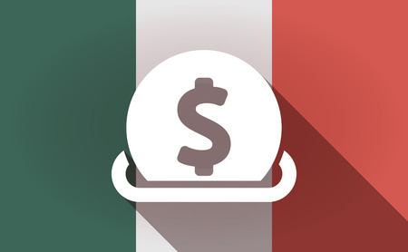 Illustration Of A Long Shadow Mexico Flag With A Dollar Coin