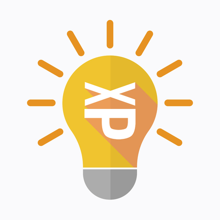 Illustration of an isolated light bulb with  a Tongue sticking text face emoticon