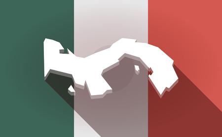 bandera de panama: Illustration of a long shadow  Mexico flag with  the Panama map